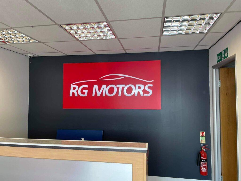 RG Motors Indoor Sign