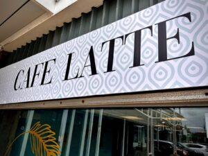 cafe latte close up sign